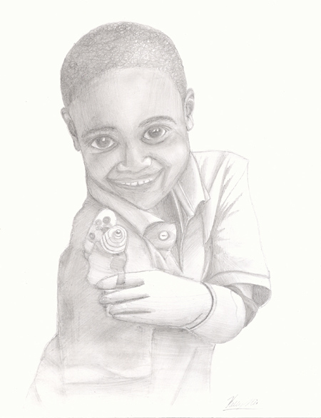 Pencil Sketches - Boy using prosthetic arm for the first time.