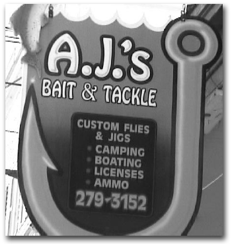 The icon for AJ's Bait & Tackle run by an angler for anglers!