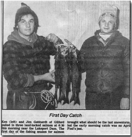Carl Gephardt's sons, Ken and Jim with opening day catch of salmon from local newspaper.