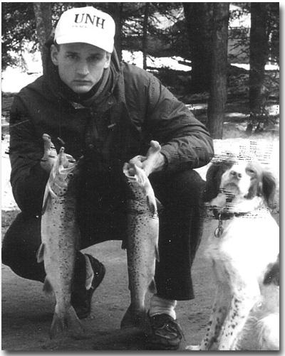 Carl Gebhardt's son Jim, and dog with 2 nice Lake Winni salmon.