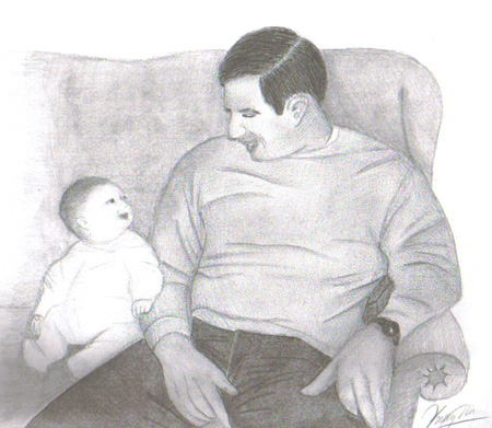Pencil Sketches - father and baby.